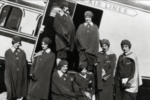 CA The first female flight attendant B