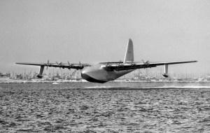 "Nov. 2, 1947: The Hughes Aircraft H-4 Hercules ""Spruce Goose"" during short flight in the Long Beach-Los Angeles Harbor."